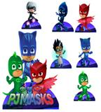 kit Display festa Mdf PJMasks 1 Totem chão e 6 Displays 22cm - X4adesivos