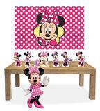 Kit Display Mdf Minnie Rosa Com 07 Pçs + Painel Grande - X4adesivos