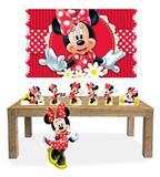 Kit Display Mdf Minnie Vermelha Com 07 Pçs + Painel Grande - X4adesivos