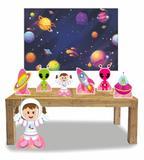 Kit Display Menina Astronauta 7 Pçs + Painel Grande - X4adesivos