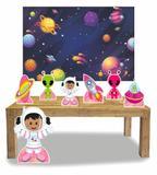 Kit Display Menina Astronauta Morena 7 Pçs + Painel Grande - X4adesivos