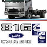 Kit Emblemas Caminhao Ford Cargo 816 Escovado Adesivo Resinado 05 Pecas - Sport inox