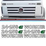 Kit Emblemas Caminhao Vw 24-250E Worker Adesivo Resinado 04 Pecas - Sport inox