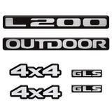 Kit Emblemas Mitsubishi L200 2011 Outdoor 4x4 Gls Resinado - Sportinox