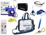 Kit Enfermagem Aparelho De Pressão com Estetoscópio Clinico Duplo Incoterm Completo - Azul + Bolsa Transparente JRMED