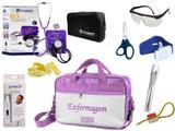 Kit Enfermagem Aparelho De Pressão com Estetoscópio Clinico Duplo Incoterm Completo - Lilás + Bolsa JRMED