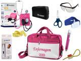 Kit Enfermagem Aparelho De Pressão com Estetoscópio Clinico Duplo Incoterm Completo - Pink + Bolsa JRMED