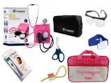 Kit Enfermagem: Aparelho De Pressão com Estetoscópio Duplo Incoterm  Completo - Pink