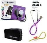 Kit Enfermagem: Aparelho De Pressão com Estetoscópio Rappaport Incoterm Lilás JRMED + Garrote JRMED