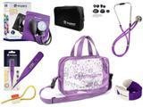 Kit Enfermagem Aparelho de Pressão com Estetoscópio Rappaport Incoterm + Termômetro Digital + Garrote Cores + Bolsa Transparente JRMED - Lilás
