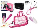 Kit Enfermagem Aparelho de Pressão com Estetoscópio Rappaport Incoterm + Termômetro Digital + Garrote Cores + Bolsa Transparente JRMED - Pink