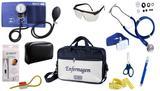 Kit Enfermagem Aparelho De Pressão com Estetoscópio Rappaport Premium Completo - Azul + Bolsa JRMED