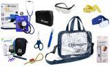 Kit Enfermagem Aparelho Pressão com Estetoscópio Clinico Duplo Incoterm Completo - Azul + Bolsa Transparente JRMED + Medidor de Glicose - G-Tech