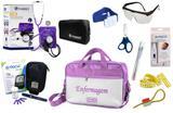 Kit Enfermagem Aparelho Pressão com Estetoscópio Clinico Duplo Incoterm Completo - Lilás + Bolsa JRMED + Medidor de Glicose - G-Tech