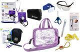 Kit Enfermagem Aparelho Pressão com Estetoscópio Clinico Duplo Incoterm Completo - Lilás + Bolsa Transparente JRMED + Medidor de Glicose - G-Tech
