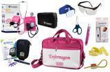 Kit Enfermagem Aparelho Pressão com Estetoscópio Clinico Duplo Incoterm Completo - Pink + Bolsa  JRMED + Medidor de Glicose - G-Tech