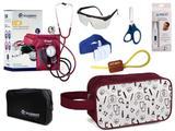 Kit Enfermagem Aparelho Pressão com Estetoscópio Clinico Duplo Incoterm Vinho Completo + Necessaire