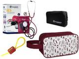 Kit Enfermagem Aparelho Pressão com Estetoscópio Clínico Duplo Vinho Incoterm + Necessaire