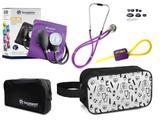 Kit Enfermagem Aparelho Pressão com Estetoscópio Lilás Incoterm + Necessaire