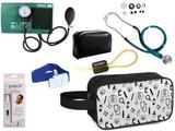 Kit Enfermagem Aparelho Pressão com Estetoscópio Premium Verde + Termômetro + Necessaire