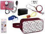 Kit Enfermagem Aparelho Pressão com Estetoscópio Premium Vinho + Termômetro + Necessaire