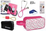 Kit Enfermagem Aparelho Pressão com Estetoscópio Rappaport Incoterm Pink + Termômetro + Necessaire