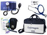 Kit Enfermagem Aparelho Pressão com Estetoscópio Rappaport Premium - Azul + Bolsa JRMED + Medidor de Glicose - G-Tech