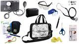 Kit Enfermagem Aparelho Pressão com Estetoscópio Rappaport Premium Completo - Preto + Bolsa Transparente JRMED + Medidor de Glicose - G-Tech