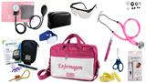 Kit Enfermagem Aparelho Pressão com Estetoscópio Rappaport Premium Completo - Rosa + Bolsa JRMED + Medidor de Glicose - G-Tech