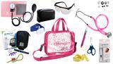 Kit Enfermagem Aparelho Pressão com Estetoscópio Rappaport Premium Completo - Rosa + Bolsa Transparente JRMED + Medidor de Glicose - G-Tech
