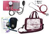 Kit Enfermagem Aparelho Pressão com Estetoscópio Rappaport Premium - Vinho + Bolsa Transparente JRMED + Medidor de Glicose - G-Tech
