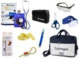 Kit Enfermagem Esfigmomanômetro com Estetoscópio Clinico Duplo Incoterm Completo - Azul + Bolsa JRMED