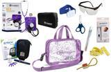 Kit Enfermagem Esfigmomanômetro com Estetoscópio Clinico Duplo Incoterm Completo - Lilás + Bolsa Transparente JRMED + Medidor de Glicose - G-Tech