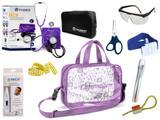 Kit Enfermagem Esfigmomanômetro com Estetoscópio Clinico Duplo Incoterm Completo - Lilás + Bolsa Transparente JRMED