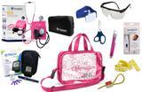 Kit Enfermagem Esfigmomanômetro com Estetoscópio Clinico Duplo Incoterm Completo - Pink + Bolsa Transparente JRMED + Medidor de Glicose - G-Tech