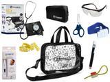 Kit Enfermagem Esfigmomanômetro com Estetoscópio Clinico Duplo Incoterm Completo - Preto + Bolsa Transparente JRMED