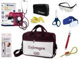 Kit Enfermagem Esfigmomanômetro com Estetoscópio Clinico Duplo Incoterm Completo - Vinho + Bolsa JRMED