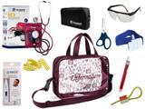 Kit Enfermagem Esfigmomanômetro com Estetoscópio Clinico Duplo Incoterm Completo - Vinho + Bolsa Transparente JRMED