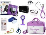 Kit Enfermagem Esfigmomanômetro com Estetoscópio Rappaport Incoterm Completo - Lilás + Bolsa JRMED + Relógio Lapela