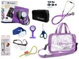 Kit Enfermagem Esfigmomanômetro com Estetoscópio Rappaport Incoterm Completo - Lilás + Bolsa Transparente JRMED + Relógio Lapela
