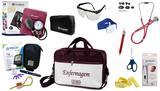 Kit Enfermagem Esfigmomanômetro com Estetoscópio Rappaport Incoterm Completo - Vinho + Bolsa JRMED + Medidor de Glicose - G-Tech
