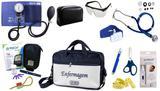 Kit Enfermagem Esfigmomanômetro com Estetoscópio Rappaport Premium Completo - Azul + Bolsa JRMED + Medidor de Glicose - G-Tech