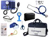 Kit Enfermagem Esfigmomanômetro com Estetoscópio Rappaport Premium Completo - Azul + Bolsa JRMED + Relógio Lapela