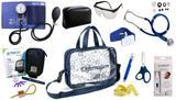 Kit Enfermagem Esfigmomanômetro com Estetoscópio Rappaport Premium Completo - Azul + Bolsa Transparente JRMED + Medidor de Glicose - G-Tech