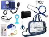 Kit Enfermagem Esfigmomanômetro com Estetoscópio Rappaport Premium Completo - Azul + Bolsa Transparente JRMED + Relógio Lapela