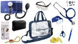 Kit Enfermagem Esfigmomanômetro com Estetoscópio Rappaport Premium Completo - Azul + Bolsa Transparente JRMED