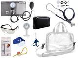 Kit Enfermagem Esfigmomanômetro com Estetoscópio Rappaport Premium Completo - Grafite + Bolsa Transparente JRMED + Relógio Lapela