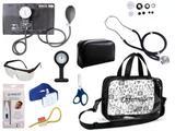 Kit Enfermagem Esfigmomanômetro com Estetoscópio Rappaport Premium Completo - Preto  + Bolsa Transparente JRMED + Relógio Lapela