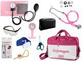 Kit Enfermagem Esfigmomanômetro com Estetoscópio Rappaport Premium Completo - Rosa + Bolsa JRMED + Relógio Lapela