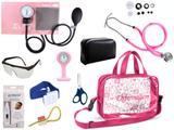 Kit Enfermagem Esfigmomanômetro com Estetoscópio Rappaport Premium Completo - Rosa + Bolsa Transparente JRMED + Relógio Lapela